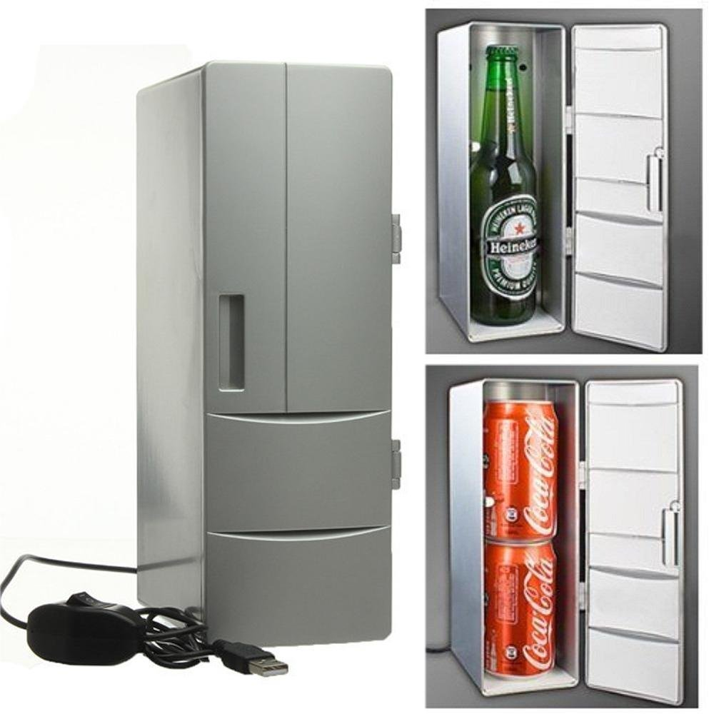 Pawaca Mini USB Refrigerator, USB Fridge Cooler Gadget Beverage Drink Cans Cooler/Warmer Refrigerator for Home and Office