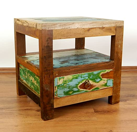 Colourful Bedside Table Made From Reclaimed Teak Wood, Java Furniture Made  From Boat Wood (