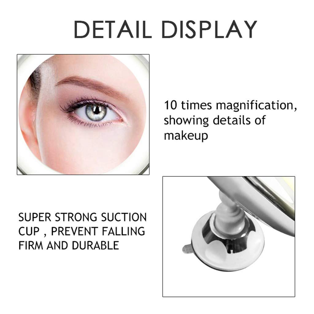 ℬeauty Eve Flexible Mirror Lighted 10X Magnifying Makeup Mirror Power Locking Suction Cup by ℬeauty Eve (Image #5)