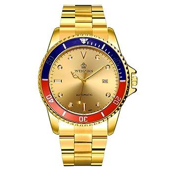 Weiguan para hombre automático luminoso mecánico reloj de pulsera Dorado con acero inoxidable: Amazon.es: Relojes