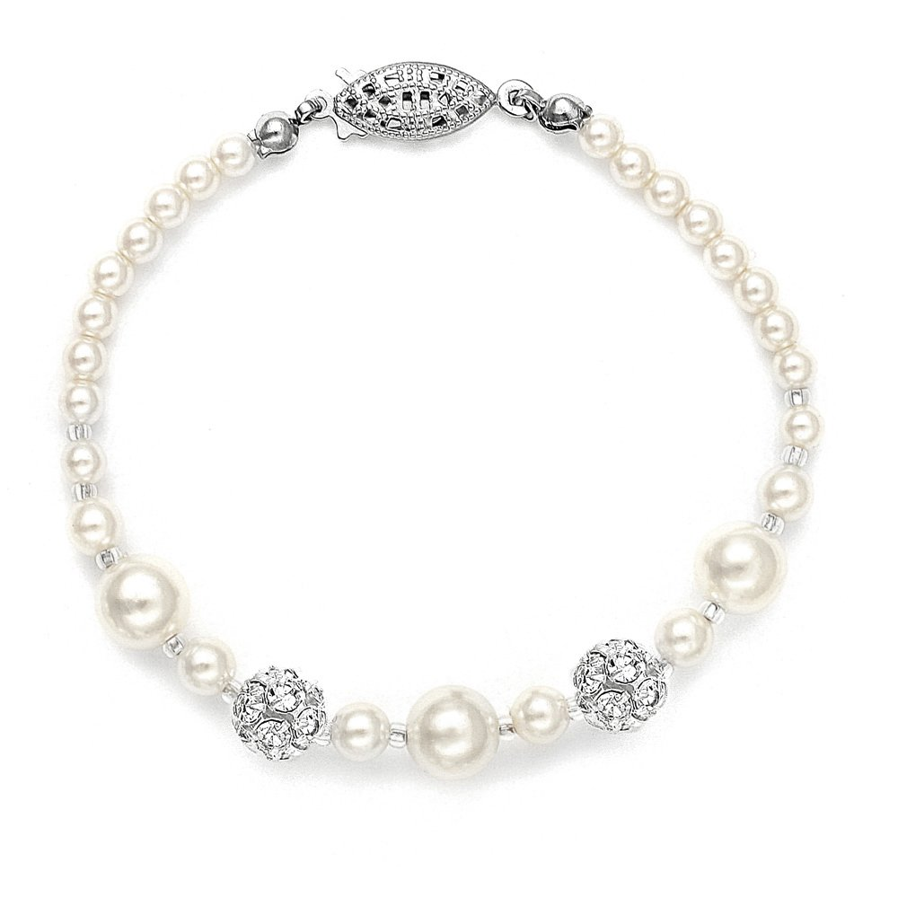 Mariell Ivory Simulated Pearl Wedding Bridal Bracelet with Swarovski Crystal Rhinestones - Made in USA