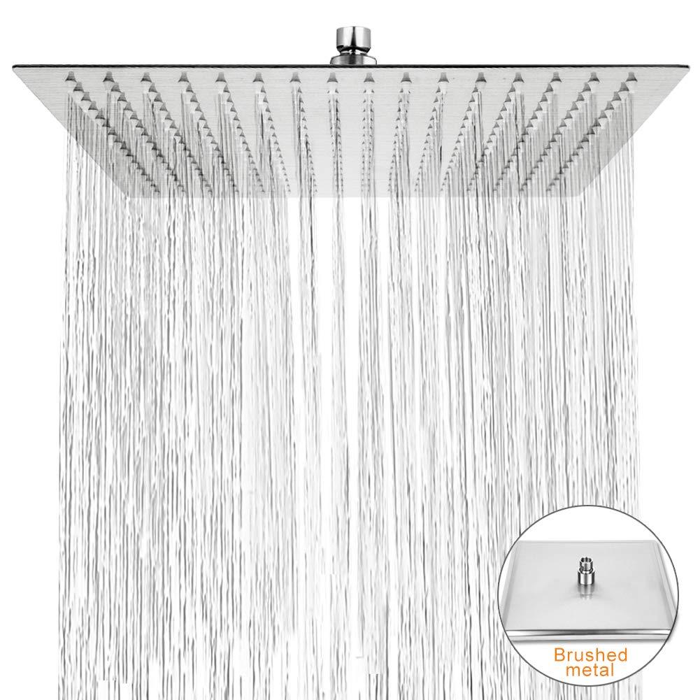acero inoxidable pulido 304 Efecto espejo alto brillo cabezal de ducha de lujo de 12 pulgadas Superflach de ducha cabezal de ducha Qliver Ducha de lluvia cuadrado angular 30 cm