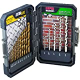 Mibro 871490 Titanium Coated Extra Life Drill Bit and Super Masonry Drill Bit Set, 17-Piece