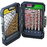MIBRO 871490 Titanium Coated Extra Life Drill Bit and Super Masonry Drill Bit Set, 17 Pieces