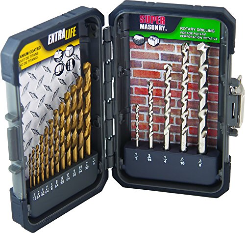 MIBRO 871490 Titanium Coated Extra Life Drill Bit and Super Masonry Drill Bit Set, 17 Pieces Masonry Set