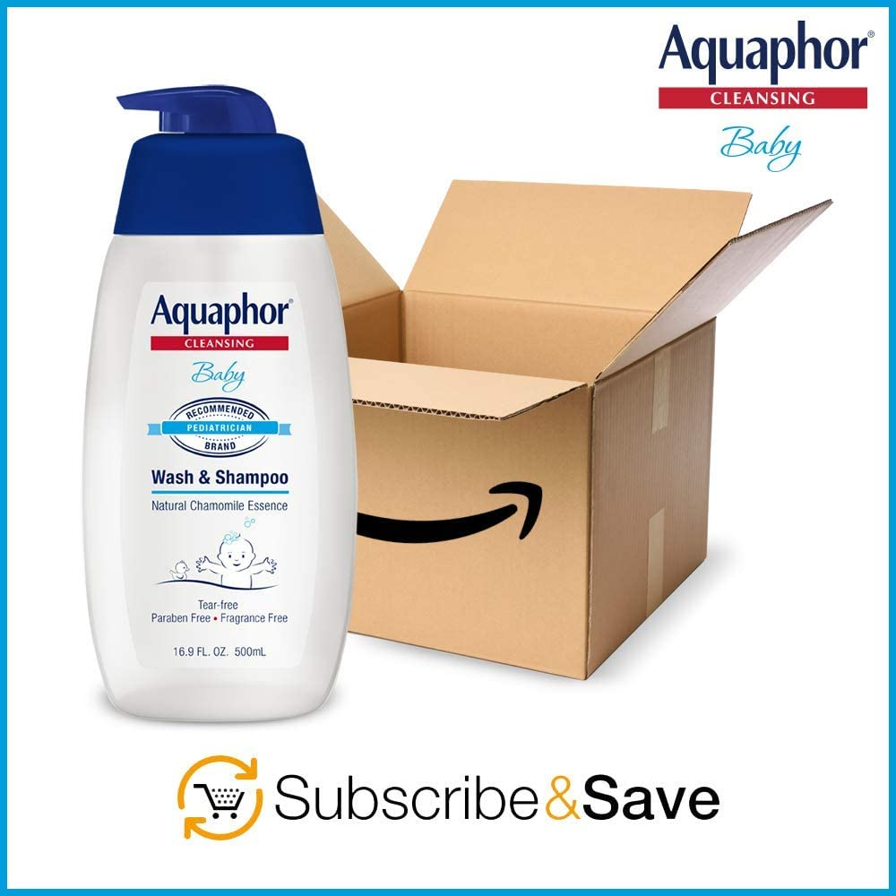 Aquaphor Baby Wash and Shampoo - Mild, Tear-Free 2-in-1 Solution for Babys Sensitive Skin