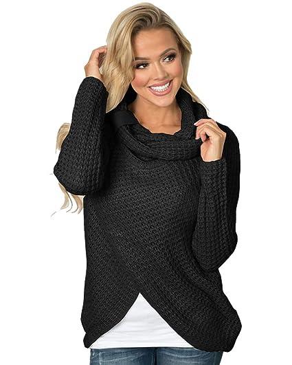 e313e54e3 MYIFU Womens Sweaters Casual Cowl Neck Knit Wrap Asymmetric Hem ...