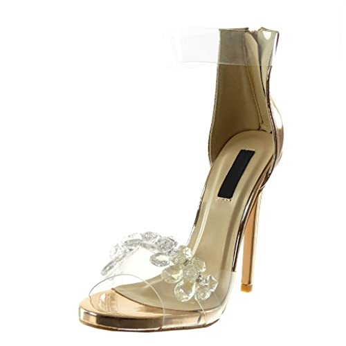 Angkorly - Scarpe Moda Decollete con Tacco Sandali Stiletto con Cinturino  alla Caviglia Peep-Toe 3051479c481