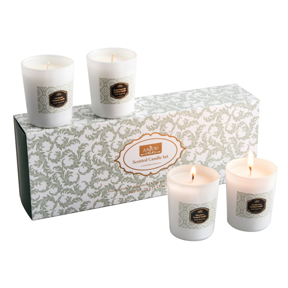 Anjou Scented Candles 4 Pack Aroma Candles Gift Set, Includes Pear and Freesia, Blackberry and Bay, Orange and Peppermint, and Soft Blanket Scents - 20 Hours Burn Time Per Cup