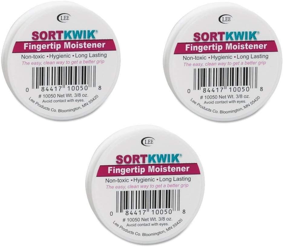 LEE 10050 Sortkwik Fingertip Moisteners, 3/8 oz, Pink, Sold as 3 Pack