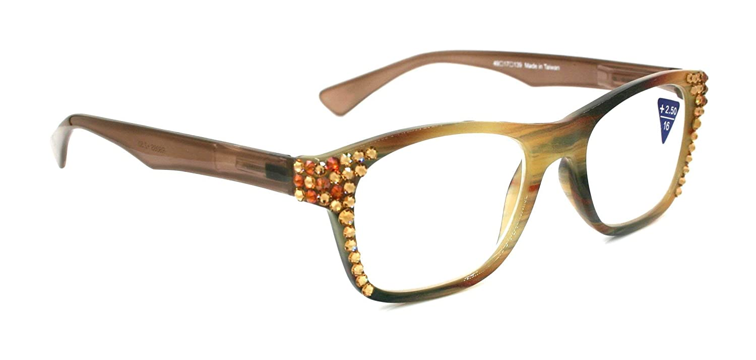 Hazel Marbled Retro Square wayfarer Women Reading Glasses W/SWAROVSKI Crystals Black Diamond/Light Colorado +1.50, 2.00, 2.50, 3.00 Brushstroke Design