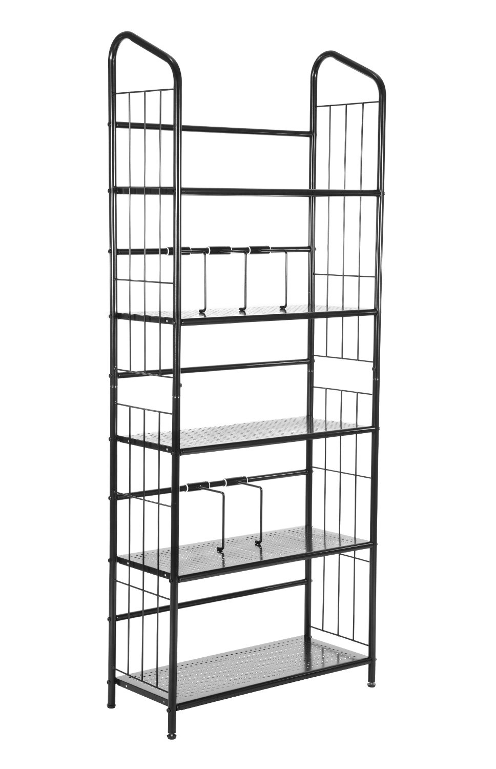 MaidMAX Metal Bookshelf 5 Tiers Bookcase Shelving Unit Storage Book Rack for Kids to Hold Albums Photo Frames in Bedroom Living Room Study Room School and Office, Black