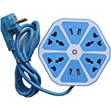 Saleshop365® Heavy Duty Extension Board Hexagon Electrical Extension Cord Power Socket with 4 USB Port for Mobile with 2 Meter Cable Wire 4 Socket Surge Protector Spike Strip Guard Extension Board