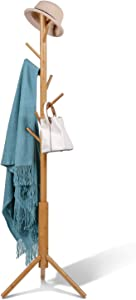 Coat Rack Stand Bamboo Wooden 8 Hooks 3 Adjustable Tree Standing Coat Jackets Hanger Easy Assembly Hallway Mounted Corner Parlor Office Floor Stand for Clothes Nature