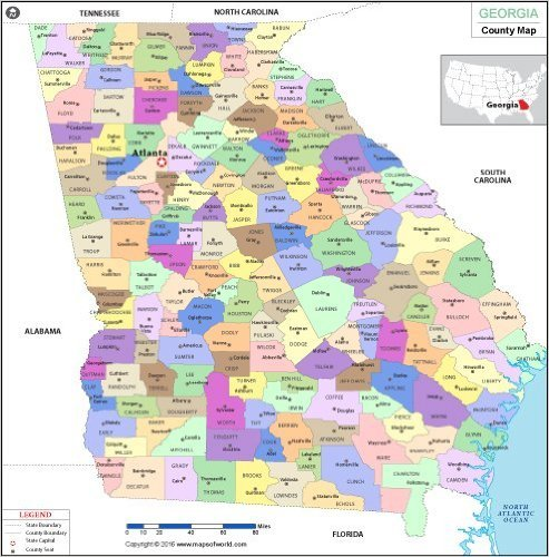 Map Of Northern Florida And Georgia.Amazon Com Georgia County Map Laminated 36 W X 36 H Office
