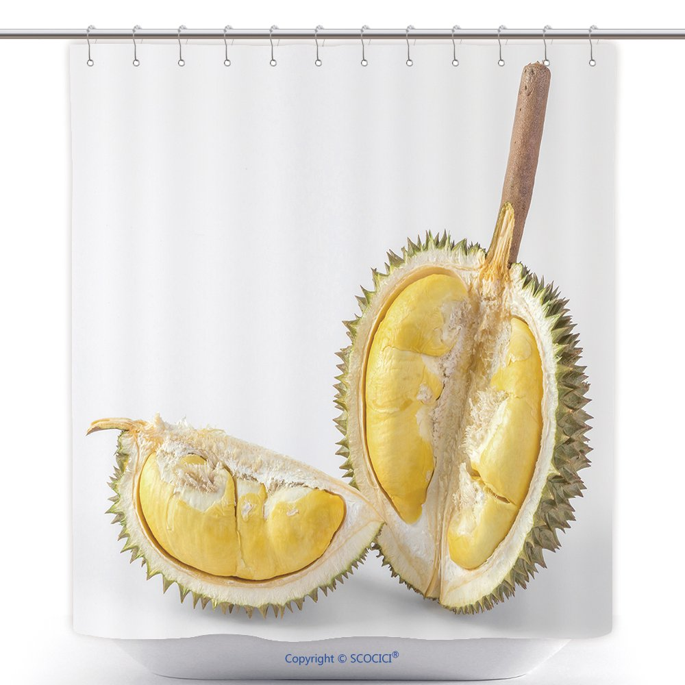 Polyester Shower Curtains Thai Durian Portion Isolated On White Background 135500471 Polyester Bathroom Shower Curtain Set With Hooks by