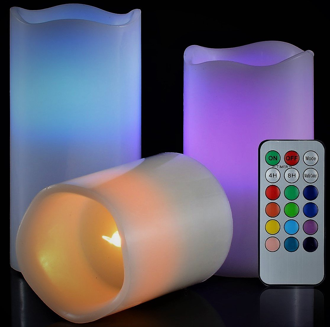 LED Lytes Flickering Flameless Candles - Battery Operated Candles Vanilla Scented Set of 3 Round Ivory Wax Flickering Multi Colored Flame, auto-Off Timer Remote Control Weddings Gifts by LED Lytes (Image #3)