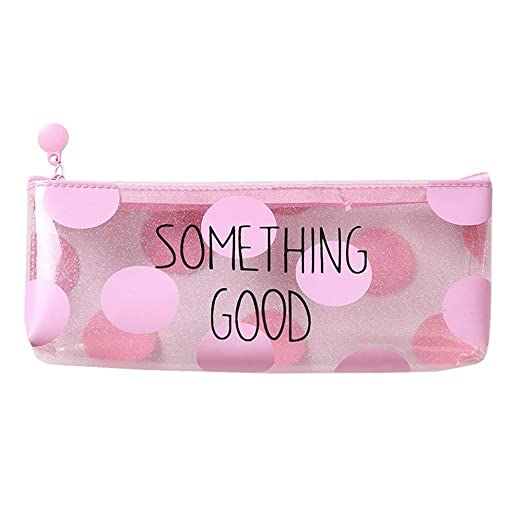 e02841e8306 Wintialy Pink Transparent Pencil Case Cosmetic Bag Makeup Pouch Pencils Box