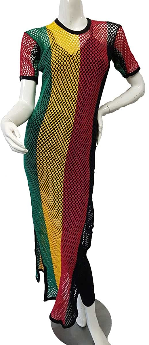 bc65f5a772 Women s Clothing Ladies Rasta Multicolored Side Slit String Mesh Maxi Dress  Clothes