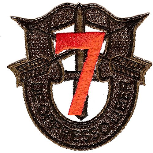 7th Special Forces Group Crest OD Green Red 7 Patch