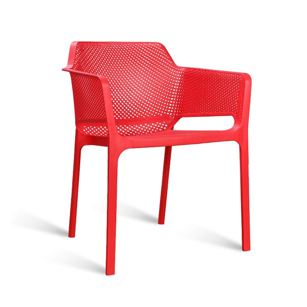 Red Balcony Stackable Plastic Side Chair, Living Room Stacking Stool Deck Chairs Garden Desk Chairs Cafe Stackable Chair (color   bluee)
