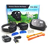 Mockins Wireless Training Electric Pet Fence The Wireless Dog Fence Outdoor System is Safe for Pets with Waterproof Receiver Collar and a Large Control Range Up to 1600 Feet Perimeter - 2 Pack