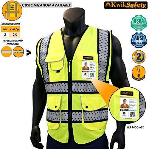 KwikSafety PARAMOUNT | Class 2 Safety Vest | 360° High Visibility Reflective ANSI Compliant Work Wear | Hi Vis Fishbone 9 Pockets Heavy Duty Zipper | Men & Women Regular to Oversized Fit | Large Large Regular Hi Visibility
