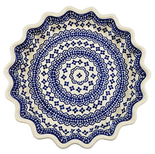 Polish Pottery Fluted Quiche/Pie Plate; 10 inch