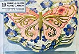 Punch Studio Set of 10 Gold Foil Embellished Blank Note Cards ~ Fancy Die-Cut Pink Butterfly Blue Floral 14520
