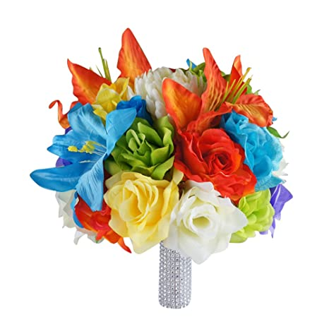 Amazon Com Angel Isabella Large Colorful Wedding Bouquet