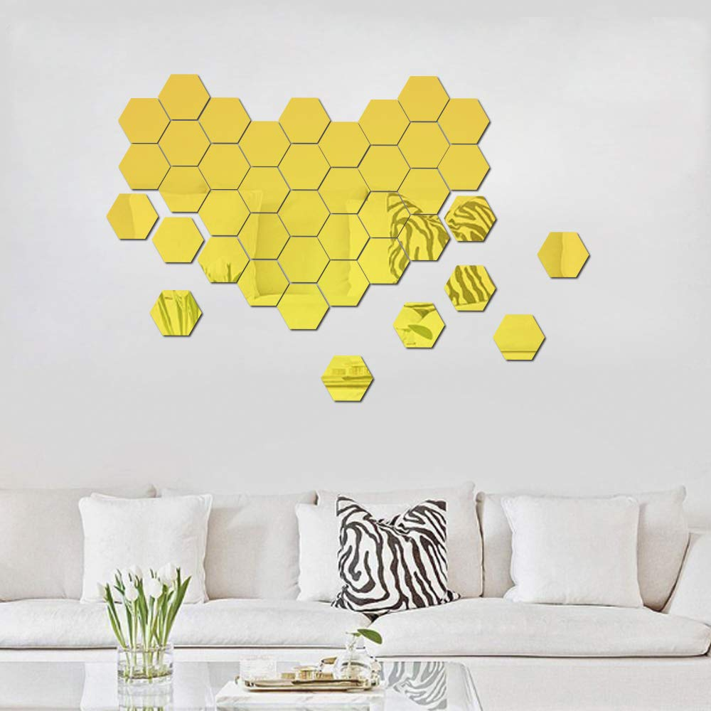 Hexagon Mirror Wall Stickers 12 PCS 5inch Removable DIY Modern Decors for Living Room Kitchen Hallway Decoration Silver ATFUNSHOP