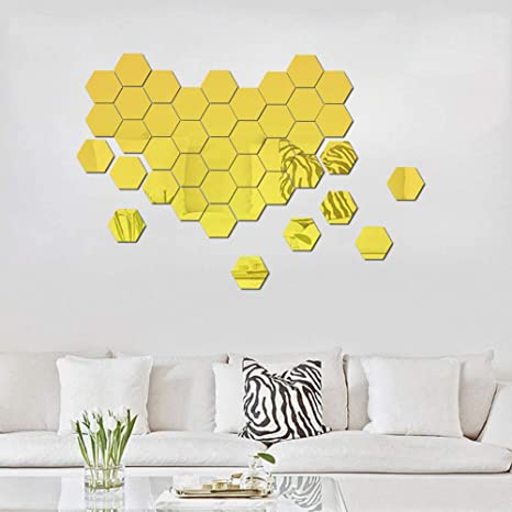 Atfunshop Hexagon Mirror Wall Stickers 12 Pcs 5inch   Removable Acrylic Gold Mirror Wall Decor Diy Modern Decoration by Atfunshop
