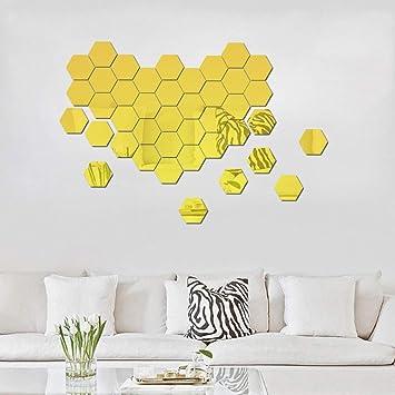 ATFUNSHOP Hexagon Spiegel Wandaufkleber 12 STÜCKE DIY Moderne Dekore Für  Wohnzimmer Küche Flur Dekoration Golden