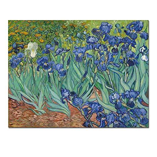 Wieco Art Irises Large Modern Gallery Wrapped Floral Giclee Canvas Print by Van Gogh Famous Blue Flowers Oil Paintings Reproduction Artwork Pictures on Canvas Wall Art for Bedroom Home Decor ()