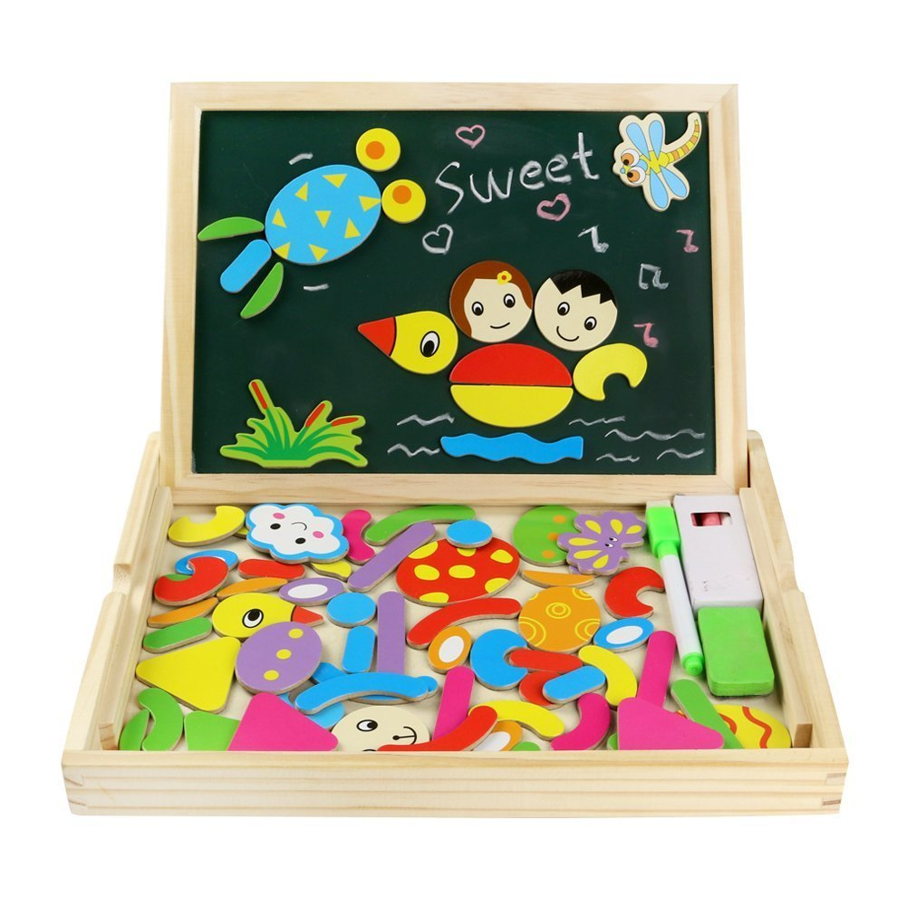 Wooden Educational Toys Magnetic Drawing Board Art Easel Animals Jigsaw Puzzles Dry Erase Double Side Magnetic Board Game Toys Gift for Kids Toddlers, Classic Theme and Dinosaur Theme, Random Delivery