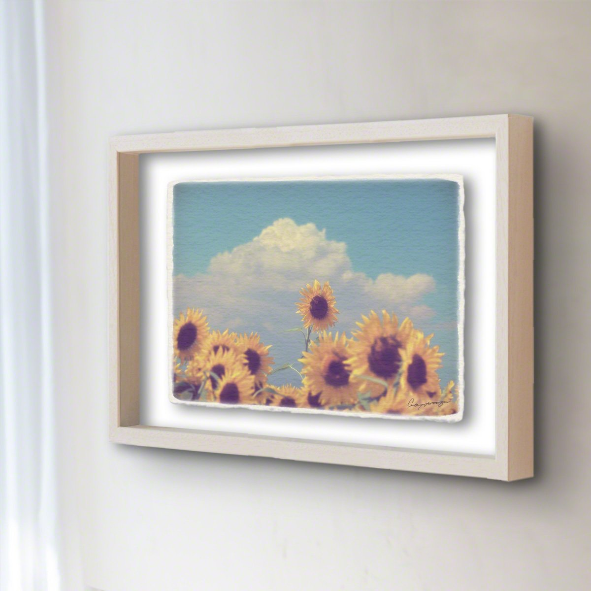 和紙 アートフレーム 「入道雲と顔を出したヒマワリの花」 (64x52cm) 花 絵 絵画 壁掛け 壁飾り 額縁 インテリア アート B07F1VKHTF 25.アートフレーム(長辺64cm) 120000円 入道雲と顔を出したヒマワリの花 入道雲と顔を出したヒマワリの花 25.アートフレーム(長辺64cm) 120000円