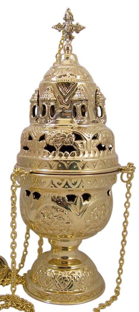 High Polished Brass Hanging Incense Burner Orthodox Censer, 12 3/4 Inch