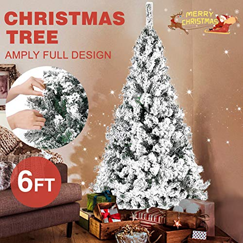 Fitnessclub Christmas 6FT Tree Snow Flocked Artificial Xmas Pine Tree w/Metal Stand Unlit Tree for Indoor Decoration (6FT) (Xmas Trees Flocked)