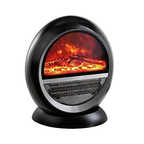 Domoclip dom370 N calefacción cerámica efecto fuego de madera, negro