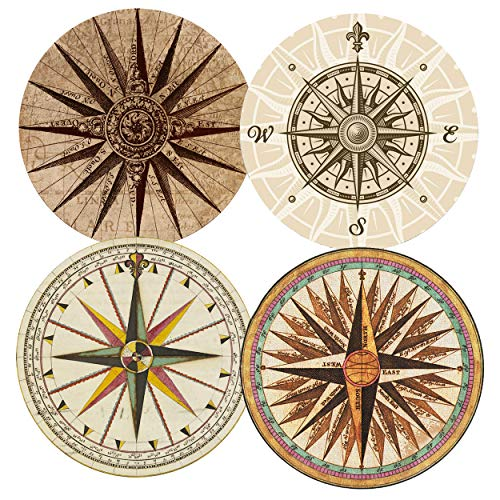 SUPCOW Coasters for Drinks Absorbent Set of 4, Ceramic Stone Coaster with Absorb Thicker Cork Back Non-slip Compass (Pack Ceramic 4 Coasters)