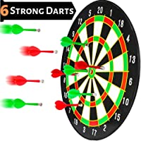 BETTERLINE Magnetic Dartboard Set - 16 Inch Dart Board with 6 Magnet Darts for Kids and Adults, Gift for Game Room, Office, Man Cave and Home (White)