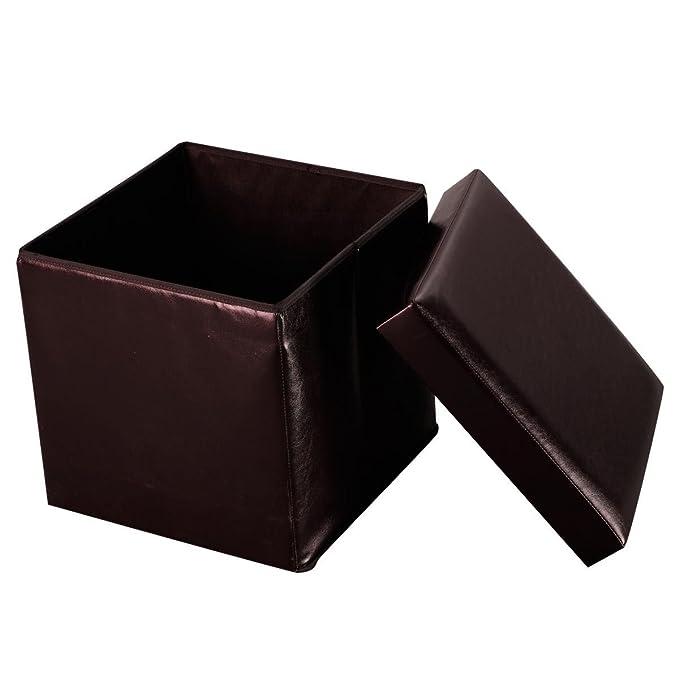 Amazon.com: Brown Folding Cube Faux Leather Ottoman Pouffe ...