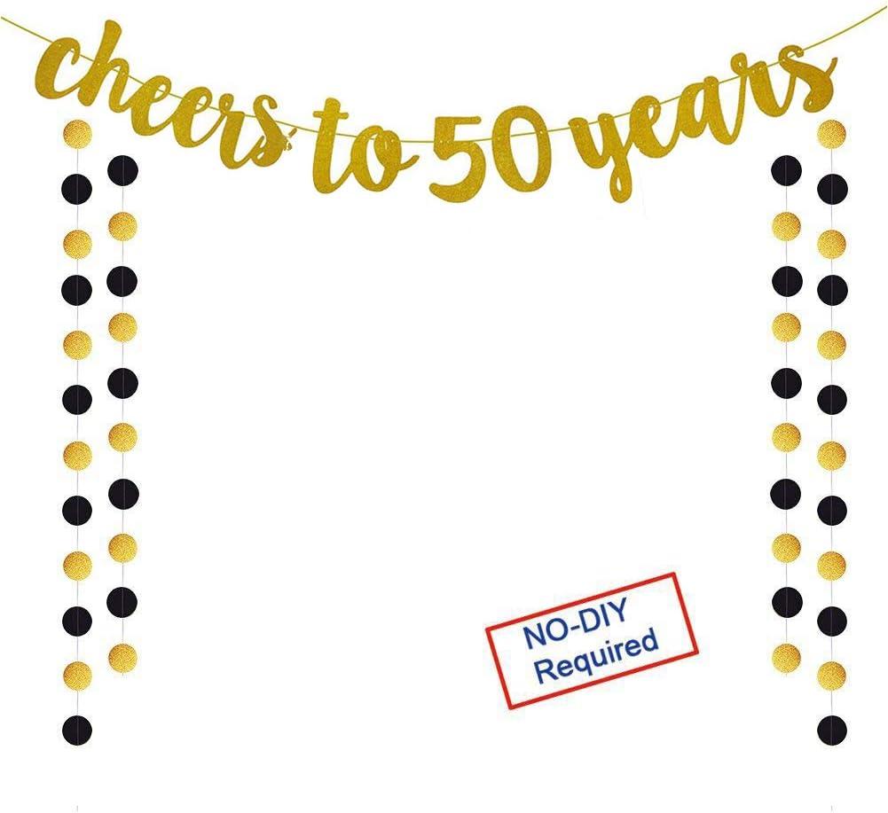 Amazon.com: Pancarta dorada con purpurina para 50 años para ...