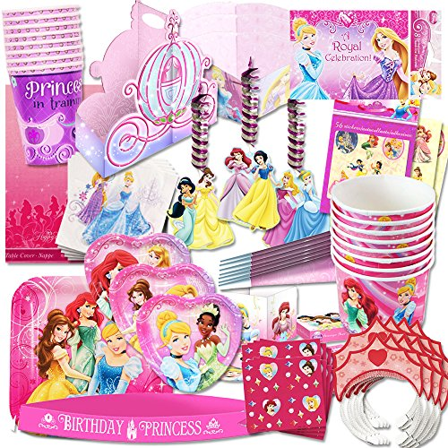 y Supplies Ultimate Set (150 Pieces) -- Party Favors, Birthday Party Decorations, Plates, Cups, Napkins, Table Cover and More! (Disney Princess Set Table)