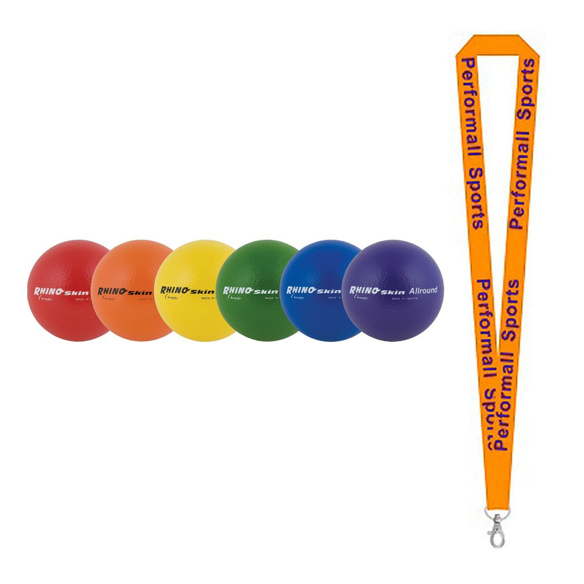 Champion Sports Rhino Skin All Around Set Assorted (Set of 6) with 1 Performall Lanyard RS7SET-1P by Performall Sports Dodgeballs