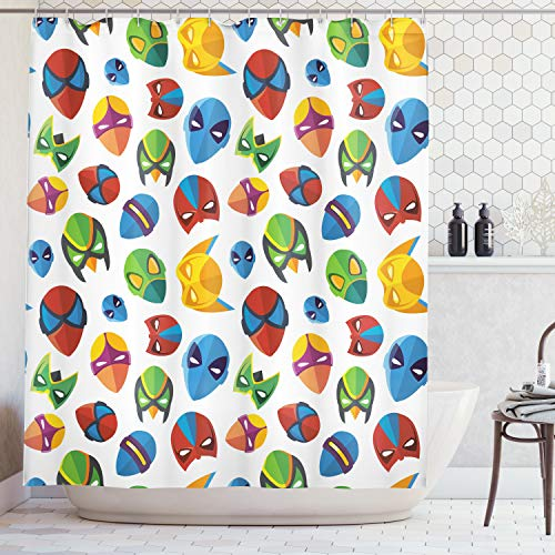 Ambesonne Superhero Shower Curtain, Legendary Cartoon Character Masks Flash Batman Spider-Man Comic Costume Print, Fabric Bathroom Decor Set with Hooks, 70 Inches, Multicolor -