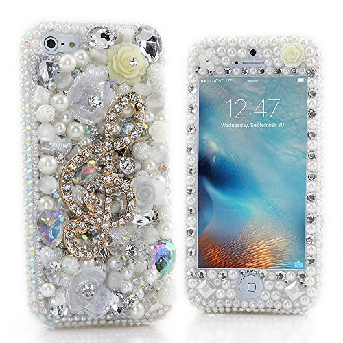 iPhone X Bling Case, Fairy Art Luxury 3D Handmade Sparkle Series Pearl Music Rose Flower Crystal Design Front & Back Snap-on Hard Cover with Soft Wallet Purse Red Cloth Pouch - Pouch Sunglasses Soft Pu Zipper