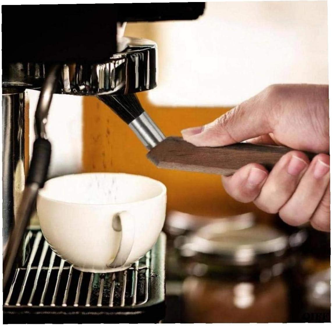 Angoter Machine /à Expresso Moulin /à caf/é Nettoyage Pinceau Poudre Naturel Soies Noyer Bois pour Barista Accueil Cuisine Bean Grain Outil