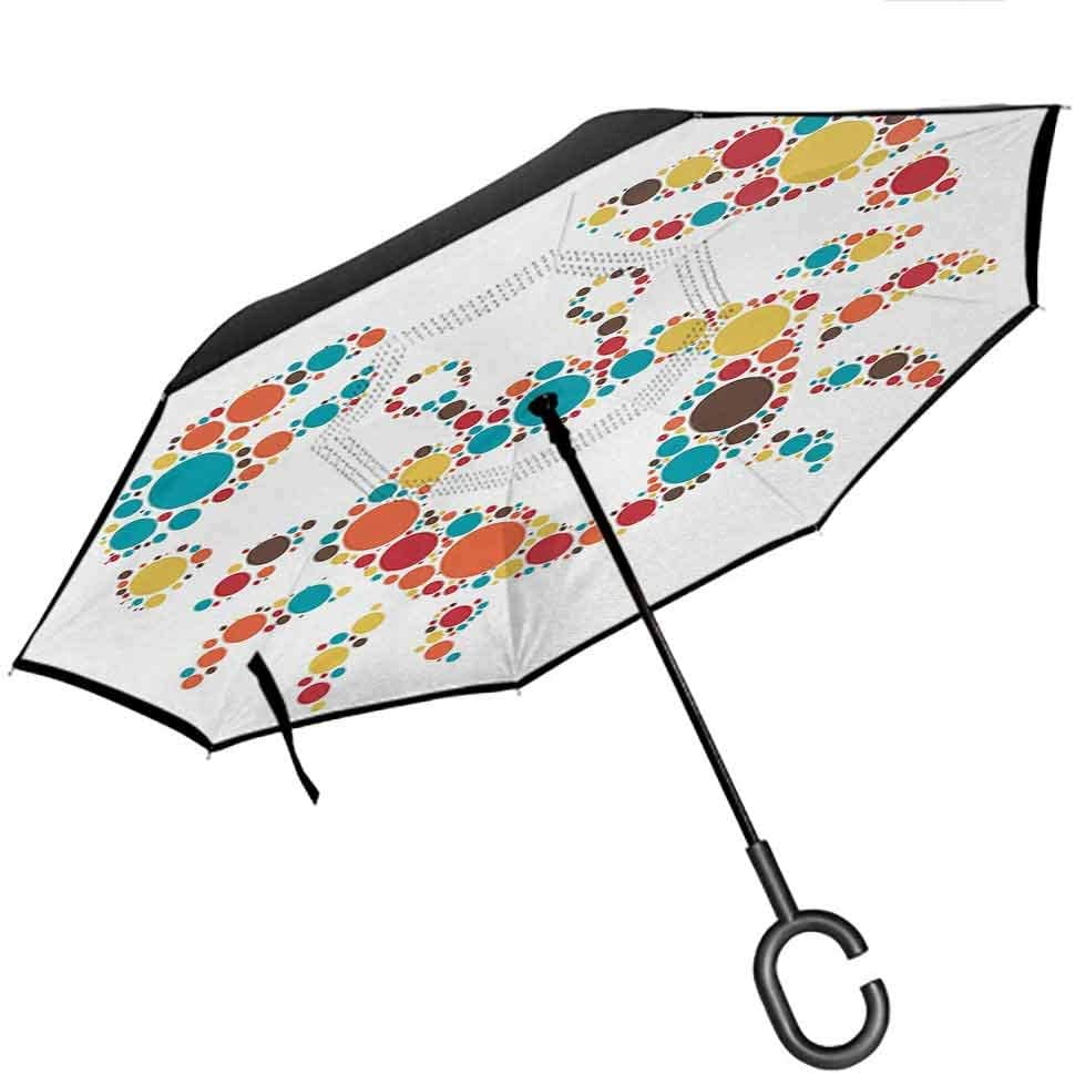 Reverse Inverted Inside Out Umbrella, Windproof UV Protection Big Straight Umbrella - Double Layer Canopy, Countryside|Idyllic Spring Meadow on the Mountains with Flowers Rural Sunrise Landscape 61hVgx6--NL