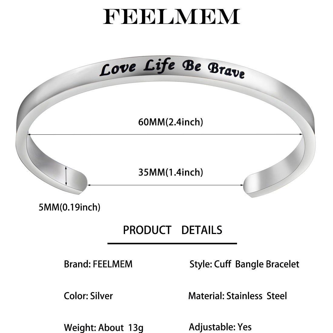 Amazoncom Feelmem Inspirational Bracelet Love Life Be Brave Cuff